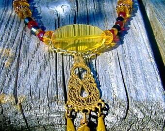 Pharaoh's Pride Ancient Egyptian Necklace Golden Pendant Drop