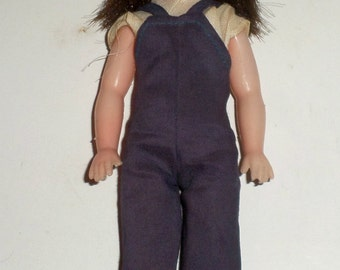 Vintage Doll - Plastic Doll - Toy Doll - Marked Hong Kong - Moving Arms and Legs - Soft Head - Head Turns - Dark Hair - Doll Overalls