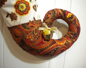 Paisley Curly Elf Toed Christmas Stocking in Shades of Autumn