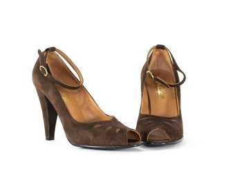Leather Heels Brown Suede Ankle Strap Peep Toe Heels Made in Italy Size 7.5
