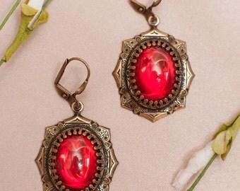 Medieval Ruby Earrings, Red Jewelry, Victorian Earrings, SCA Garb, Renaissance Wedding, Medieval, Handfasting, Bridal, Millicent Earrings
