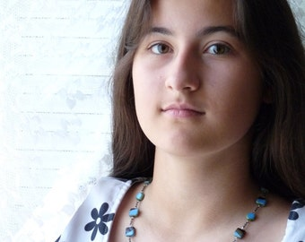 Blue Necklace, LAST ONE, Dark Topaz and Sky Blue Necklace, Layering Necklace , handmade jewelry by AnnaArt72
