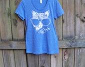 Like a Boss T-shirt, feminist shirt, Graphic tee, womens funny t shirt, Cat shirt, cats, American Apparel tri blend, for her, RCTees