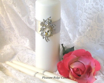 Rhinestone Brooch Unity Candle White Ivory Unity Candle Crystal Bling Unity Candle Wedding Candle Ribbon Color Choice Candle Stand Optional