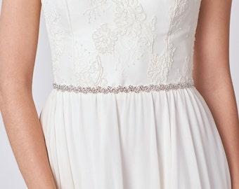 Thin Bridal Belt | Thin Wedding Sash| Crystal Belt | Silver Rhinestone Sash | Wedding Dress Belt | Skinny Sash  [Danaë Belt]