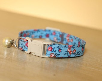 Blue Bonnet Cat Collar with Pearl Charm or Copper Bell, Shabby Chic