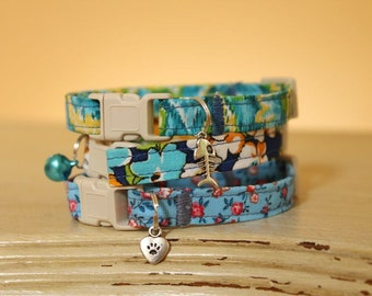 3 for 30 - Three Cat Collars for Thirty Dollars, Any Pattern + Any Bell or Charm