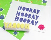hooray hand carved rubber stamp. hand lettered stamp. wedding birthday congratulations. diy scrapbooking cards. gift wrapping