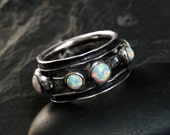 Opal Ring Size 8.5, Oxidized Sterling Silver and Ethiopian Opal - Fireheart by CircesHouse on Etsy