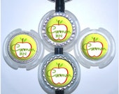 Stethoscope Id Tag - Personalized Harvest Apple on Green Quatrefoil Stethoscope Name Tag, Autumn Stethoscope Id (A343)