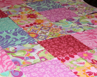 DIY, Baby, Girl, Blanket, Kit, Modern, Rag, Quilt, Kit, U Pick Colors, Designer, Cotton, Fabric, Cotton, Baby, Girl, Prewashed, Ready to Sew