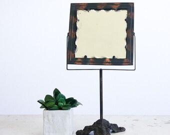 Vintage Shaving Mirror / Pedestal Mirror / Cast Iron Stand / Victorian Decor