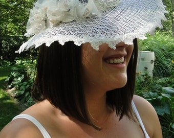 Kentucky Derby Hat Victorian Wedding off white with lace and pearls peach and champagne wide brim derby hat bridal church