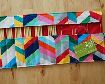 ALMOST GONE Roll Up Double Pointed Needle DPN & Circular Needle Organizer / Case / Holder - Rainbow Chevron Fabric