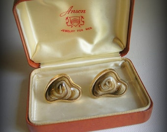 Vintage Natural Stone Cuff Links by Anson Includes Original Box