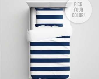 Striped Bedding Striped Comforter/Duvet Striped Blanket Rugby Stripe Nursery Bedding Toddler Bedding Striped Bedding Stripes Pick Your Color