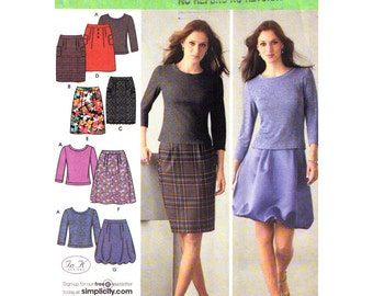 Womens Sewing Pattern Knit Pullover Top, Straight Skirt, Flared or Puff Skirt Simplicity 4041 Casual Evening Wear Womens Size 12 to 20 UNCUT
