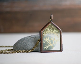 Forest Moss LOCKET Pendant Glass Locket Nature Study Pacific Northwest Bohemian Botanical Terrarium Natural Woodland Jewelry Rustic