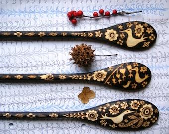 Custom flower bird wood burned 3 spoon