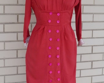 40s red vintage dress XS, dress extra small, 1940s red WWII dress, Peggi Original