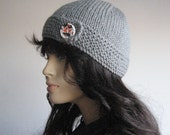 Silver Grey Hat Button Tab Hat, Knit Beanie, Light Grey Beanie, The Clara Hat, Hand Knit Hat, Knit Vegan Beanie
