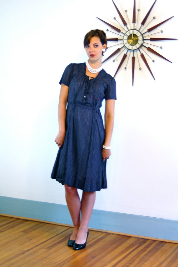 Vintage 1940s Sheer Cotton Day Dress Navy Blue Polka Dot Print Pintuck Short Sleeve Shirtdress Handmade Light Airy 40s Retro Housewife Frock