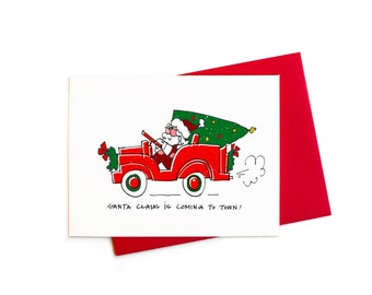 Christmas Cards with Santa Claus is Coming to Town, Santa in a Toy Jeep Christmas Cards Greeting Set
