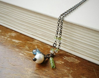 Swiss Blue Topaz and Peridot . Sterling Silver Necklace . Wire Wrapped Gemstone Pendant Jewelry . Handmade Blue Topaz Gemstone Necklace