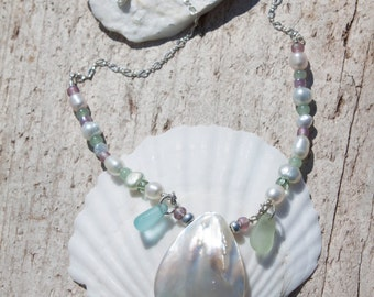 Aqua Sea Glass and Mother-of-Pearl necklace
