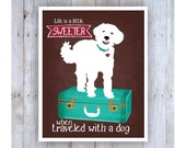 Dog Print, Dog Poster, Dog Art, White Dog, Travel Poster, Life is a Little Sweeter When Traveled With a Dog, Vintage Suitcase, Dog Travel