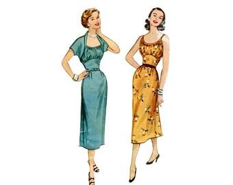 1950s Dress Pattern Shrug Bolero and Slim Skirt Wiggle Dress Ruched Shelf Bust Sleeveless McCalls 9413 Bust 30 Vintage Sewing Pattern