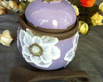Ceramic Honey pot, Sugar Jar, Jam Crock with White Poppies on Lavender and Black Mountain