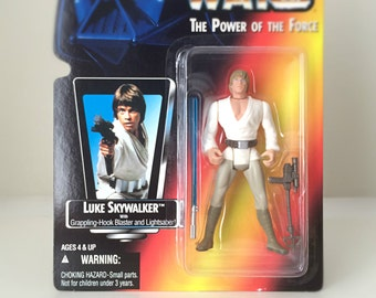 Vintage Star Wars Figure Luke Skywalker - 1995 Kenner Power of the Force Toy Line - Star Wars Episode IV, A New Hope