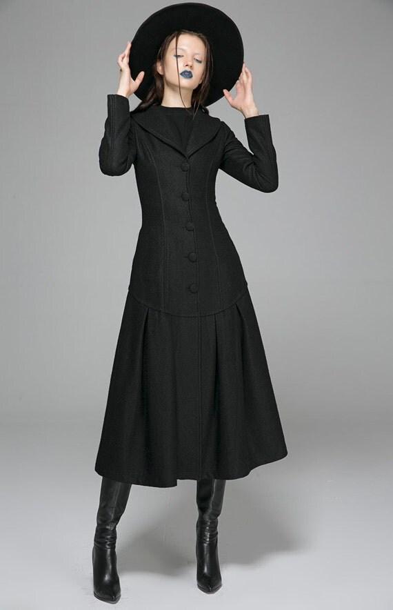 Vintage Style Coat Long Black coat french jacket dress