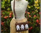 Brown Elephant Cross Body Bag - iPad Mini - Day Bag