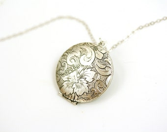 Floral Locket Necklace, Silver Locket Picture, Long Locket Necklace, Wedding Locket Silver, Photo Locket, Long Necklace Silver, Antique