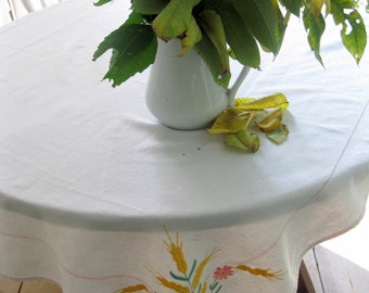 Tablecloth, Wheat, Picnic, Grain, Square, Embroidered, Linen, Cottage Charm, Country Home, by mailordervintage on etsy