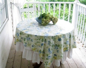 Vintage Tablecloth, Roses, French Country Decor, Shabby French, Yellow and Blue,by mailordervintage on etsy