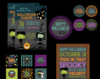 Halloween Party  Printable Kit, Halloween Party, Birthday Printable Party Pack,Custom Invitations, Halloween Party