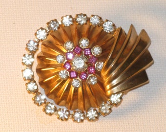 Antique Vintage Art Deco Gold Plated Pink Rhinestone Brooch Sash Pin (B-4-1)