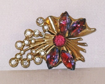 Vintage Art Deco Amethyst Poured Glass Rhinestone Floral Bouquet Brooch Pin (B-4-1)