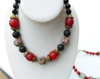 African Necklace, Bohemian Piggeon Egg Trade Beads Necklace, red and black