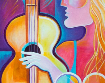 Original Abstract Painting Modern Art on canvas She and Her Guitar  Marlina Vera Fine Art Gallery Artwork sale Fauvism Pop art modernist