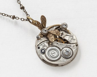 Steampunk Necklace Vintage Elgin silver pocket watch movement gears Swarovski crystal & gold dragonfly pendant necklace Statement Gift