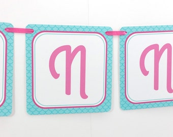 Name Banner - Made to Match Pink Mermaid Party Birthday Banner