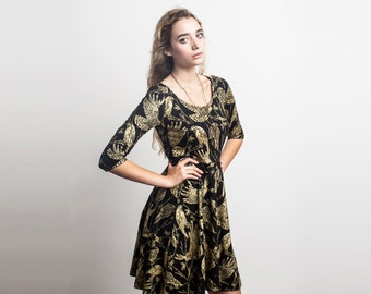 Birds of Prey Long Sleeve Twirling Dress in Gold on Black