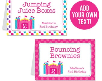 INSTANT DOWNLOAD Pink Bounce House Party Buffet Cards - EDITABLE Printable File