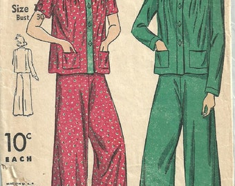 DuBarry 2591 / Vintage 40s Sewing Pattern / Pajamas Lingerie / Size 12 Bust 30