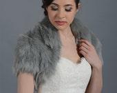 Silver faux fur jacket shrug bolero Wrap FB003-Silver