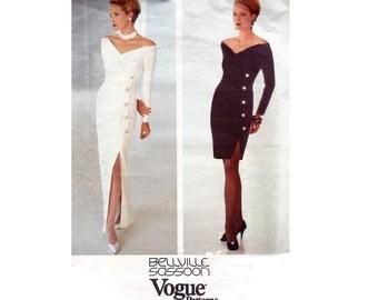 90s BELLVILLE SASSOON Side Buttoned Sheath Dress Pattern Vogue Designer 2596 Mock Wrap Dress Vintage Sewing Pattern Size 12 14 16 UNCUT F F